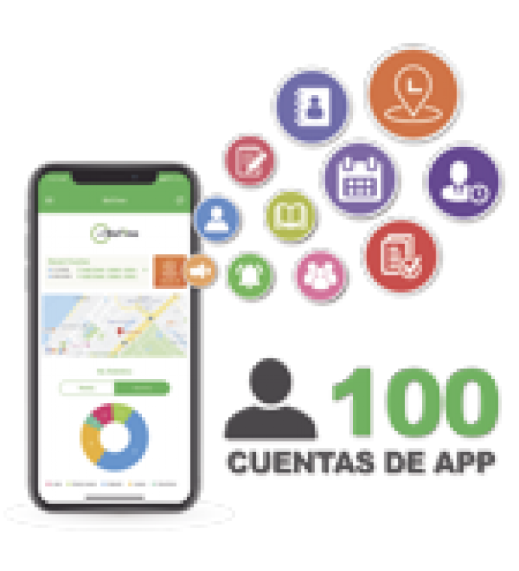 LICENCIA PARA REALIZAR CHECADAS DE ASISTENCIA DESDE SMARTPHONE (APP) CON ENVIO DE FOTOGRAFIA Y UBICACION POR GPS / COMPATIBLE CON BIOTIMEPRO / LICENCIA PARA 100 USUARIO