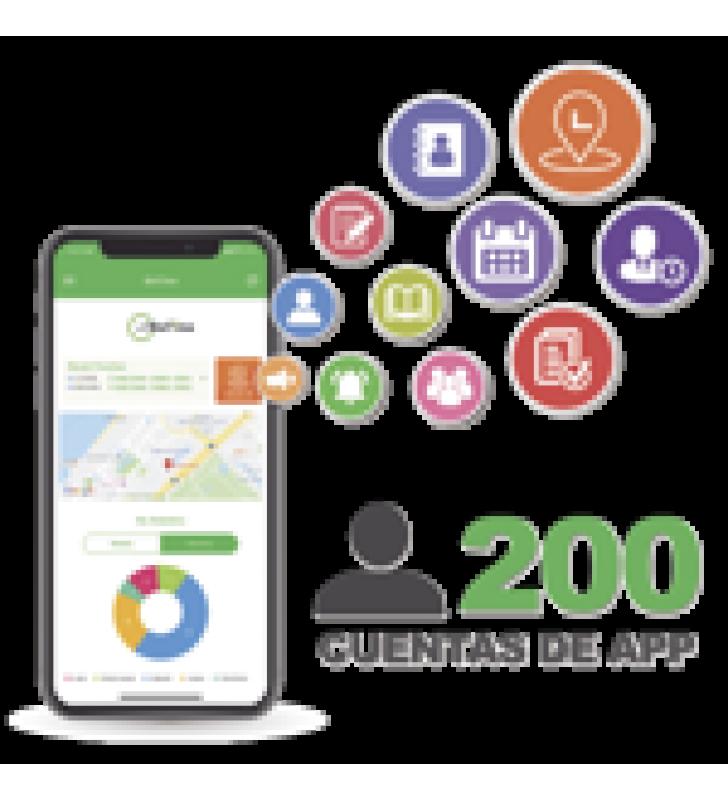 LICENCIA PARA REALIZAR CHECADAS DE ASISTENCIA DESDE SMARTPHONE (APP) CON ENVIO DE FOTOGRAFIA Y UBICACION POR GPS / COMPATIBLE CON BIOTIMEPRO / LICENCIA PARA 200 USUARIO
