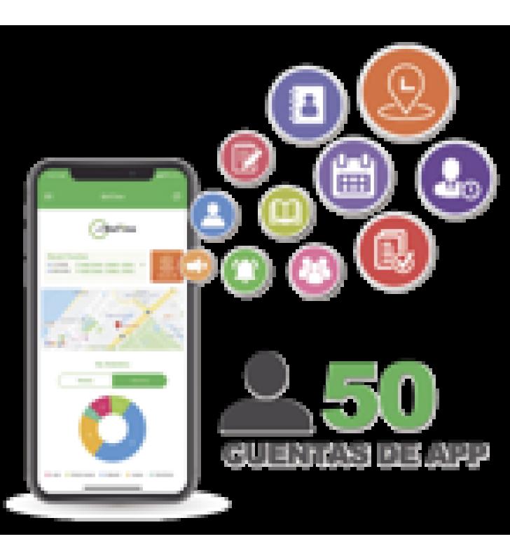 LICENCIA PARA REALIZAR CHECADAS DE ASISTENCIA DESDE SMARTPHONE (APP) CON ENVIO DE FOTOGRAFIA Y UBICACION POR GPS / COMPATIBLE CON BIOTIMEPRO / LICENCIA PARA 50 USUARIO