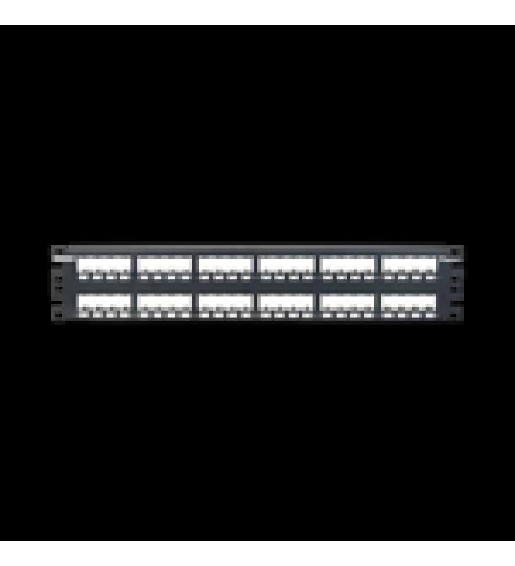 PANEL DE PARCHEO MODULAR MINI-COM (SIN CONECTORES), PLANO, TOTALMENTE BLINDADO, DE 48 PUERTOS, 2UR