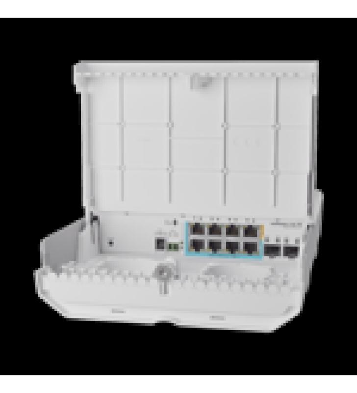 (CSS610-1GI-7R-2S+OUT) NETPOWER LITE 7R SWITCH SMART 7 PUERTOS POE INVERSO GIGABIT, 2 SFP+ 10G, PARA EXTERIOR