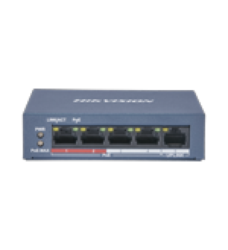 SWITCH POE+ / NO ADMINISTRABLE / 4 PUERTOS 10/100 MBPS POE+ (HASTA 250 M) + 1 PUERTO 10/100 MBPS UPLINK /  35W