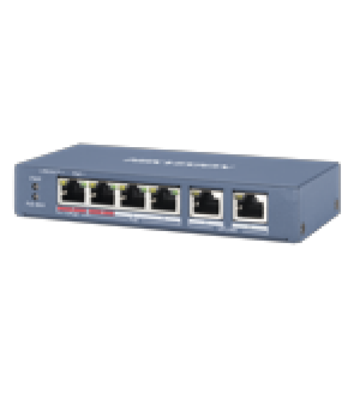 SWITCH POE+ / NO ADMINISTRABLE / 3 PUERTOS 10/100 MBPS 802.3 AF/AT (30 W) + 1 PUERTO 100 MBPS HI-POE (60 W) / 2 PUERTOS 10/100 MBPS UPLINK / 250 METROS POE LARGA DISTANCIA / 60 W