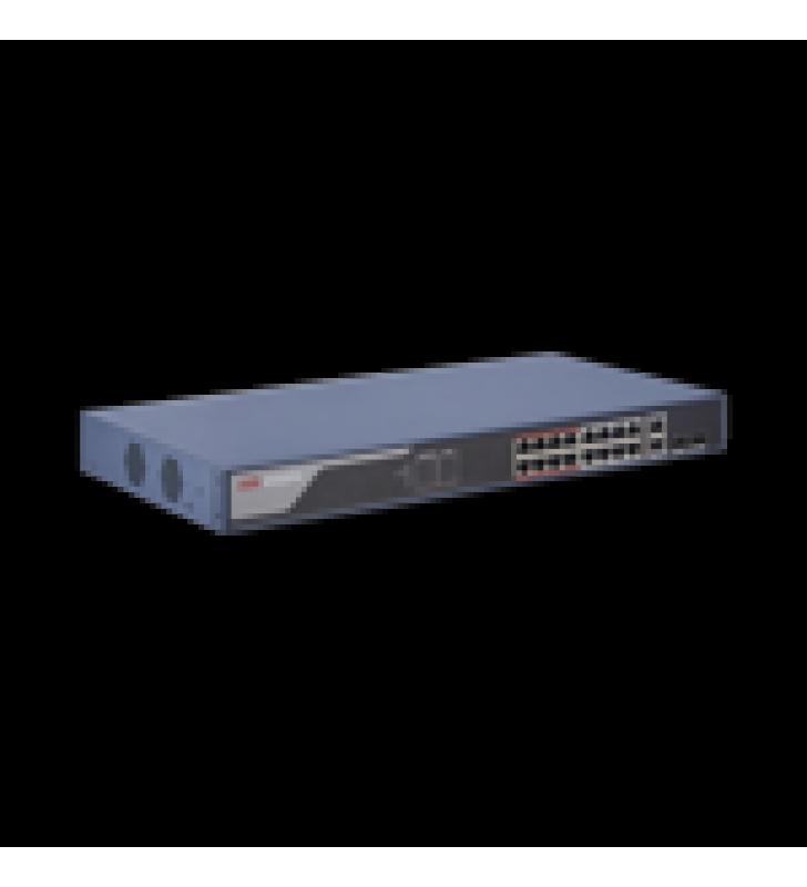 WEB SMART SWITCH POE+ / 16 PUERTOS 10/100 MBPS POE+ (HASTA 300 M) + 2 PUERTOS 10/100/1000 MBPS UPLINK / 230 W