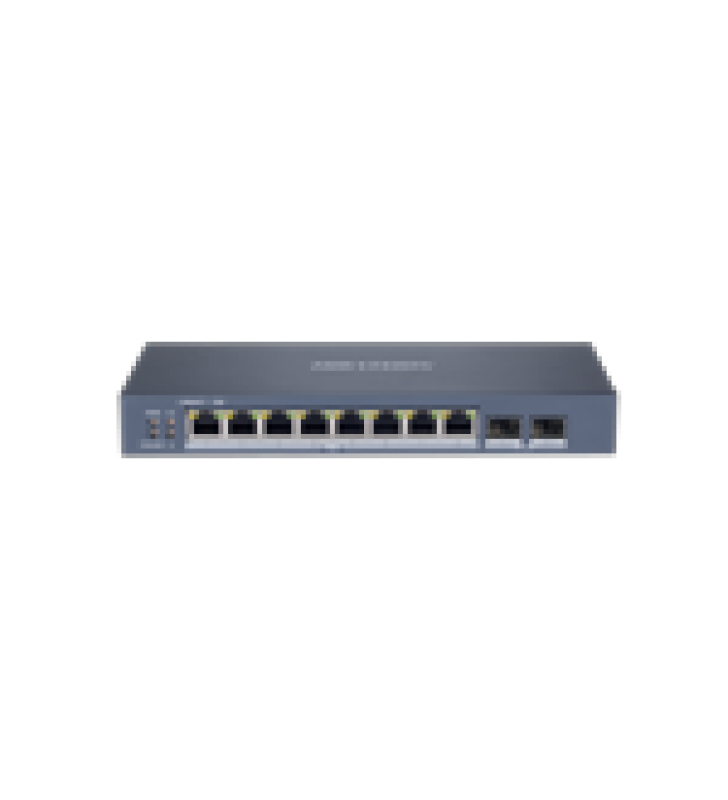 SMART SWITCH POE+ ADMINISTRABLE / 8 PUERTOS 10/100/1000 MBPS POE+ (HASTA 300 M) + 2 PUERTOS SFP UPLINK / 110 W / HIK-PROCONNECT