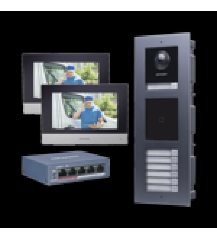KIT DE VIDEOPORTERO IP PARA 7 DEPARTAMENTOS CON LLAMADA A APP DE SMARTPHONE Y LECTOR DE TARJETAS EM / 2DA GENERACION (MODULAR) / MONTAJE PARA EMPOTRAR INCLUIDO