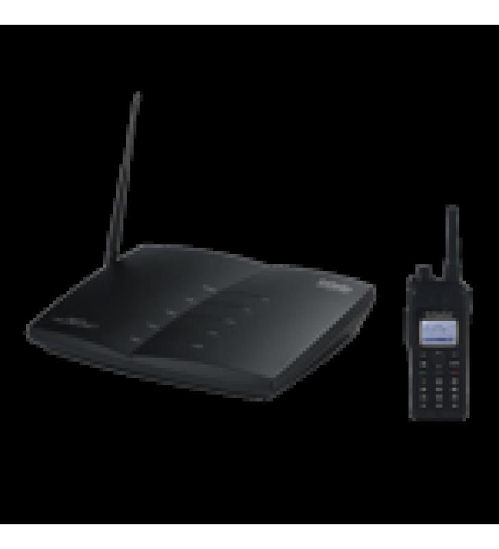 SISTEMA TELEFONICO DE LARGO ALCANCE / CON TELEFONO DOBLE BANDA EN 900-928 MHZ Y 461-469.5 MHZ / HASTA 23000 M?  EN ALMACENES / HASTA 12 KM? EN GRANJAS O RANCHOS / 12 PISOS DE PENETRACION /FUNCION DE RADIO PORTA