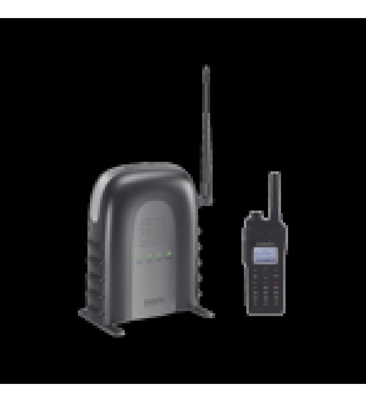 SISTEMA TELEFONICO DE LARGO ALCANCE DE UNA SOLA LINEA,INCLUYE TELEFONO CON BANDA UHF COMPATIBLE CON SISTEMA PRO / HASTA 23000 M? EN ALMACENES / HASTA 12 KM? EN GRANJAS/ HASTA 12 PISOS DE PENETRACION EN EDIFICIOS