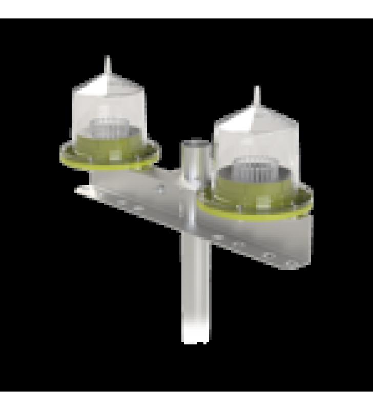 LAMPARA DOBLE DE OBSTRUCCION TIPO L-810/ AUTONOMA (SISTEMA SOLAR INCLUIDO)/ LUZ FIJA O INTERMITENTE.