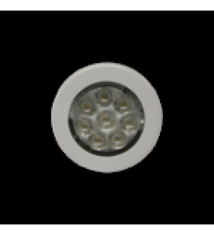 MINI LUZ DE CORTESIA DE 8 LEDS CIRCULAR CON BISEL BLANCO 2.8