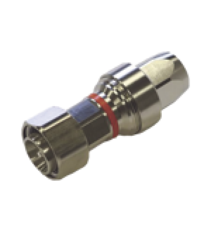 CONECTOR 4.3-10 MACHO PARA CABLE FSJ4-50B, PIN CAUTIVO Y COJINETE EXPANDIBLE, TRIMETAL/ PLATA/ TEFLON.
