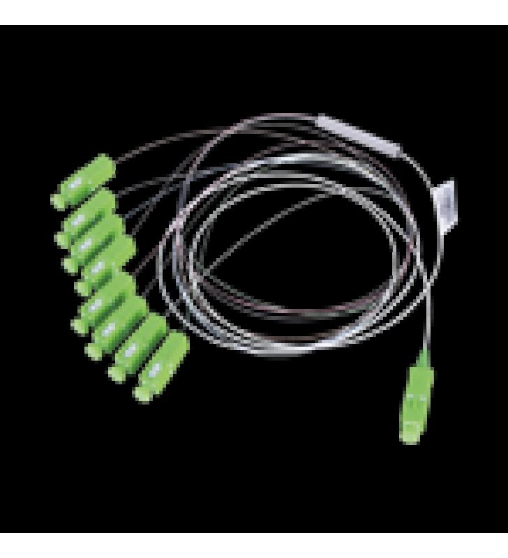 DIVISOR OPTICO (SPLITTER) TIPO PLC, DE 1X8, CON CONECTOR DE ENTRADA SC/APC Y CONECTORES DE SALIDA SC/APC