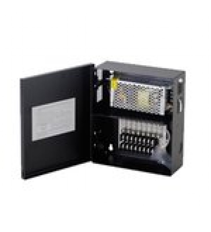 FUENTE DE PODER PROFESIONAL CCTV DE 12-13.2VDC @5A, 8 CAMARAS, VOLT. DE ENTRADA: 100-240 VCA (FUSIBLES ADMINISTRABLES)