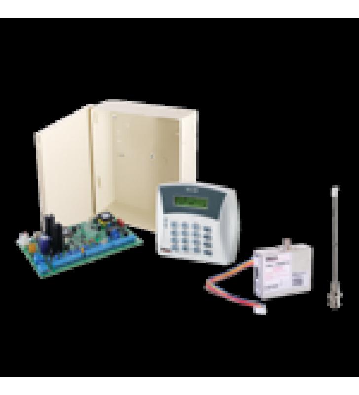 PANEL DE ALARMA HIBRIDO DE 8 A 16 ZONAS SOPORTA RECEPTOR INALAMBRICO Y CUADRUPLE COMUNICADOR ALA CENTRAL LINEA TELEFONICA, CELULAR, RADIO O TCP/IP RE QUIERE MODULOS INCLUYE TECLADO ALFANUMERICO