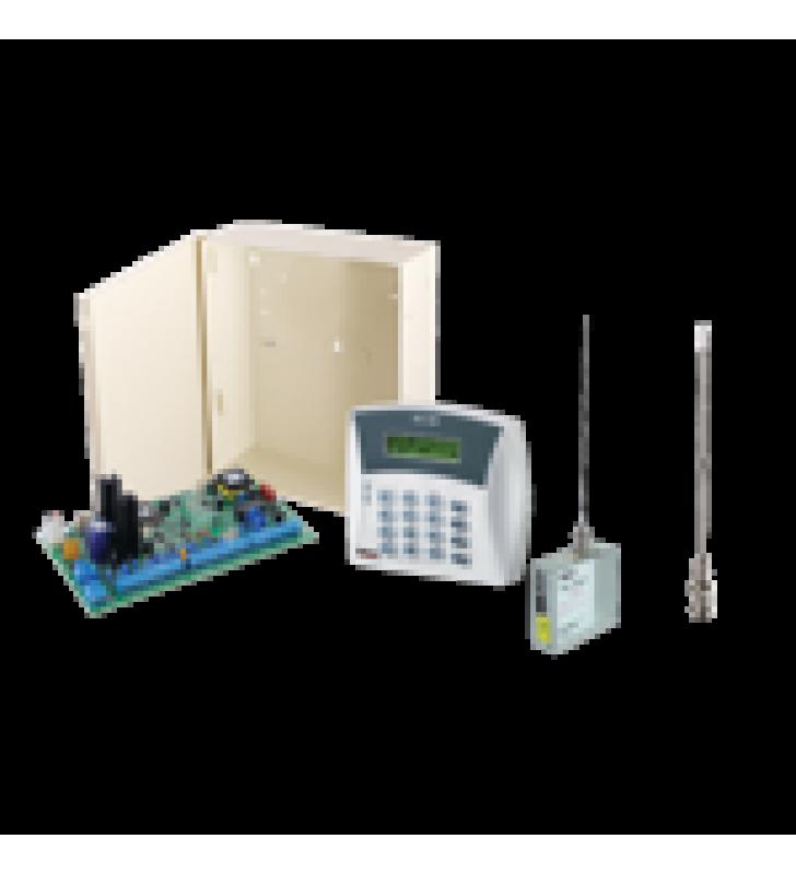 .PANEL DE ALARMA HIBRIDO DE 8 A 16 ZONAS SOPORTA RECEPTOR INALAMBRICO Y CUADRUPLE COMUNICADOR ALA CENTRAL LINEA TELEFONICA, CELULAR, RADIO O TCP/IP RE QUIERE MODULOS INCLUYE TECLADO ALFANUMERICO