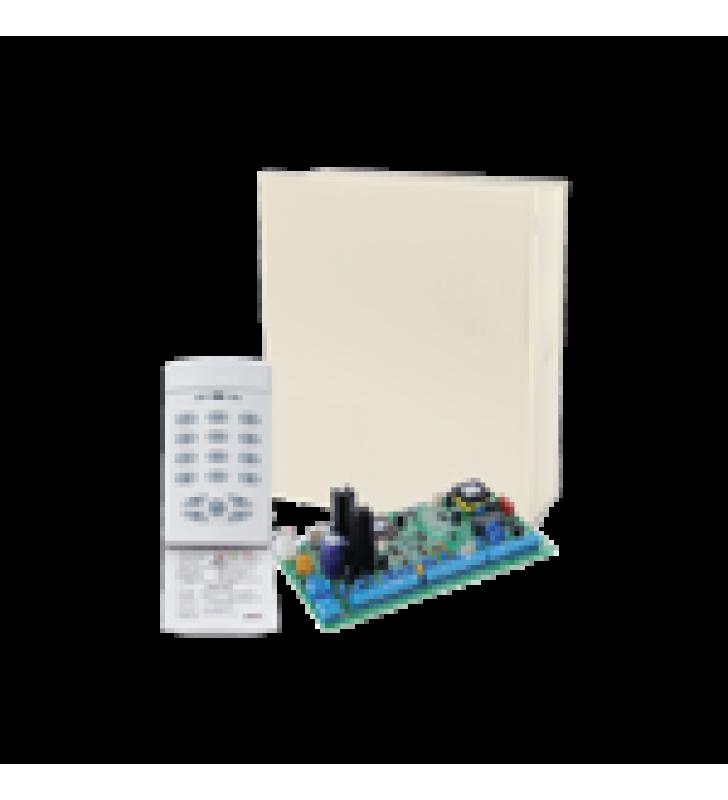 KIT DE ALARMA DE 8-16 ZONAS Y TECLADO LED 9 ZONAS. CUADRUPLE COMUNICADOR RADIO/TELEFONO/IP/GSM. INCLUYE GABINETE