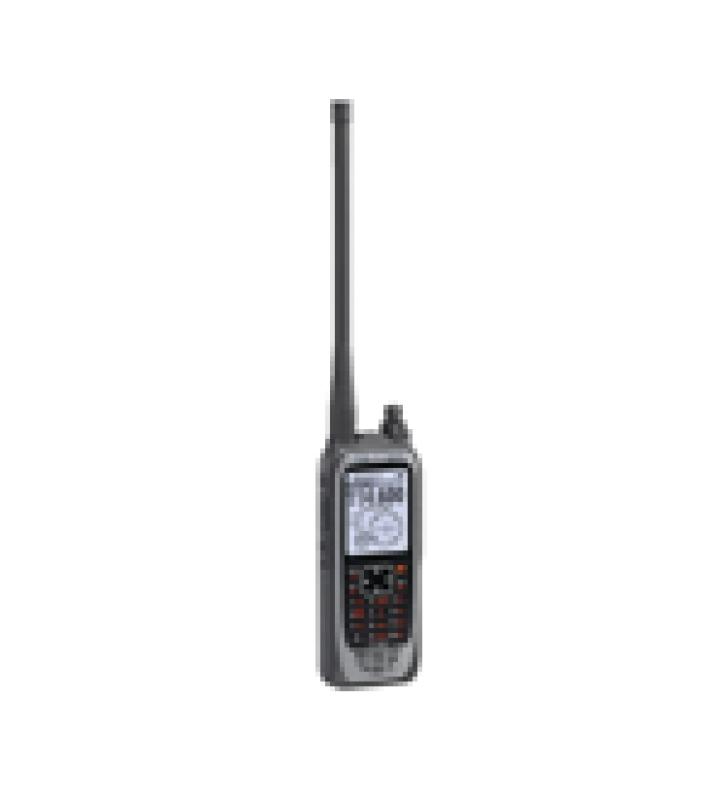RADIO PORTATIL AEREO VHF CON DISPLAY DE 2.3 PULGADAS Y TECLADO, 6W (PEP) DE POTENCIA, NAVEGACION, BLUETOOTH Y GPS, BATERIA, CARGADOR, ANTENA Y CLIP INCLUIDOS