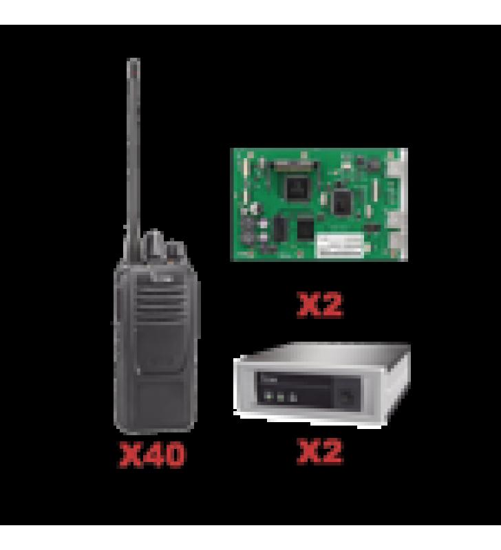 SISTEMA TRONCAL UHF DE 2 CANALES INC/ 2 TARJETAS Y 40 RADIOS
