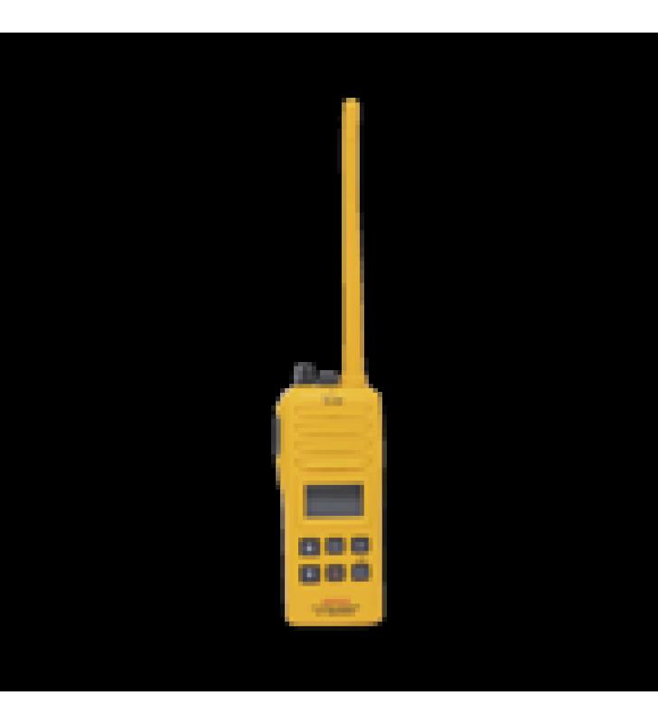 RADIO PORTATIL MARINO, 2W, CUMPLE CON LAS REGULACIONES GMDSS, TX:156.025-157.425MHZ, RX:156.050-163.275MHZ, SUMERGIBLE IPX7 INCLUYE: ANTENA, BATERIA, CARGADOR Y CLIP