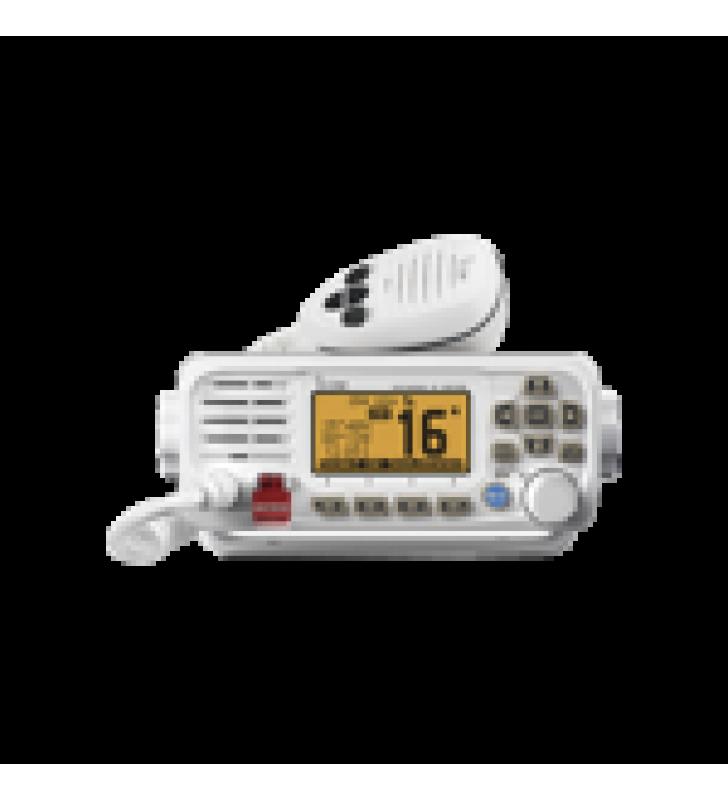 RADIO MOVIL MARINO ICOM, COLOR BLANCO, TX: 156.025 - 157.425 MHZ, RX: 156.050 - 163.275 MHZ, GPS INTERCONSTRUIDO, 25W DE POTENCIA, SUMERGIBLE IPX7 INCLUYE MICROFONO Y CABLE DE ALIMENTACION
