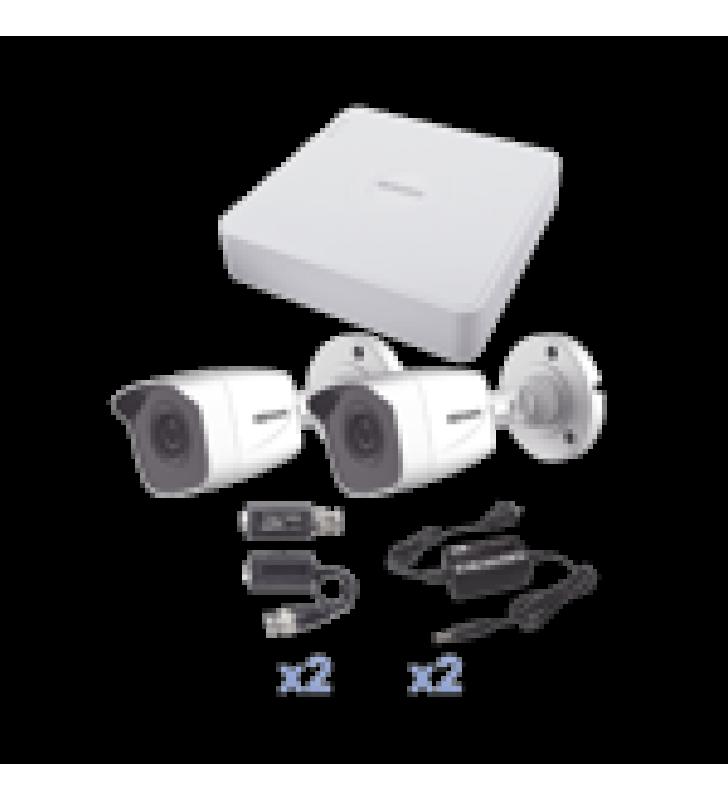 KIT TURBOHD 720P / DVR 4 CANALES / 2 CAMARAS BALA (INTERIOR - EXTERIOR 2.8 MM) / HIK-CONNECT