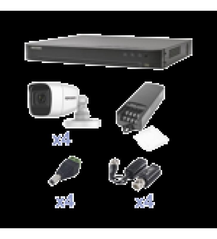 KIT TURBOHD CON AUDIO 1080P / DVR 4 CANALES / 4 CAMARAS BALA (EXTERIOR 2.8 MM) / TRANSCEPTORES / CONECTORES / FUENTE DE PODER / AUDIO POR COAXITRON