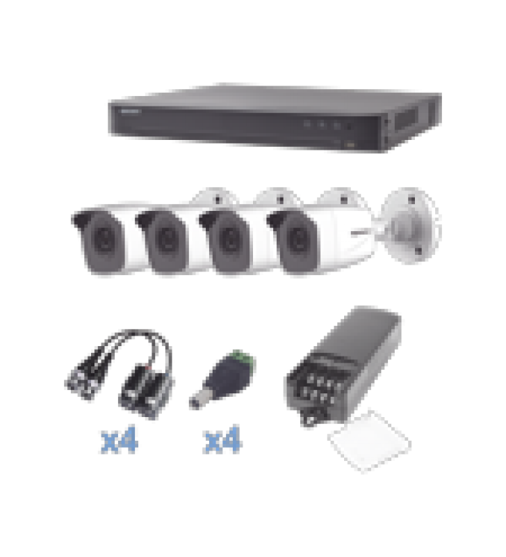 KIT TURBOHD 1080P / DVR 4 CANALES / 4 CAMARAS BALA (EXTERIOR 2.8 MM) / TRANSCEPTORES / CONECTORES / FUENTE DE PODER PROFESIONAL