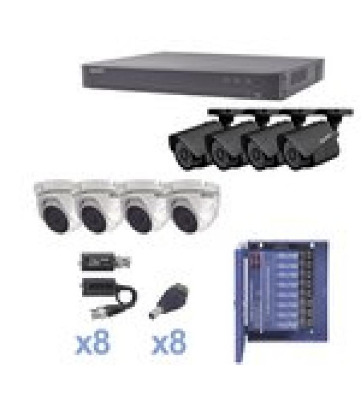 KIT TURBOHD 1080P / DVR 8 CANALES / 4 CAMARAS BALA (EXTERIOR 2.8 MM) / 4 CAMARAS EYEBALL (EXTERIOR 2.8 MM) / TRANSCEPTORES / CONECTORES / FUENTE DE PODER PROFESIONAL HASTA 15 VCD PARA LARGAS DISTANCIAS