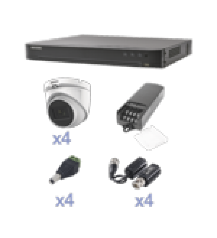 KIT TURBOHD CON AUDIO 1080P / DVR 4 CANALES / 4 CAMARAS DOMO (EXTERIOR 2.8 MM) / TRANSCEPTORES / CONECTORES / FUENTE DE PODER / AUDIO POR COAXITRON