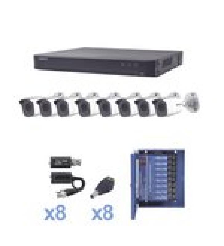KIT TURBOHD 1080P / DVR 8 CANALES / 8 CAMARAS BALA (EXTERIOR 2.8 MM) / TRANSCEPTORES / CONECTORES / FUENTE DE PODER PROFESIONAL HASTA 15 VCD PARA LARGA DISTANCIAS