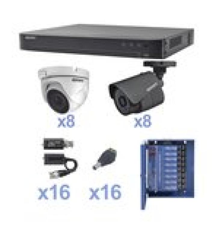 KIT TURBOHD 1080P / DVR 16 CANALES / 8 CAMARAS BALA (EXTERIOR 2.8 MM) / 8 CAMARAS EYEBALL (EXTERIOR 2.8 MM) / TRANSCEPTORES / CONECTORES / FUENTE DE PODER PROFESIONAL