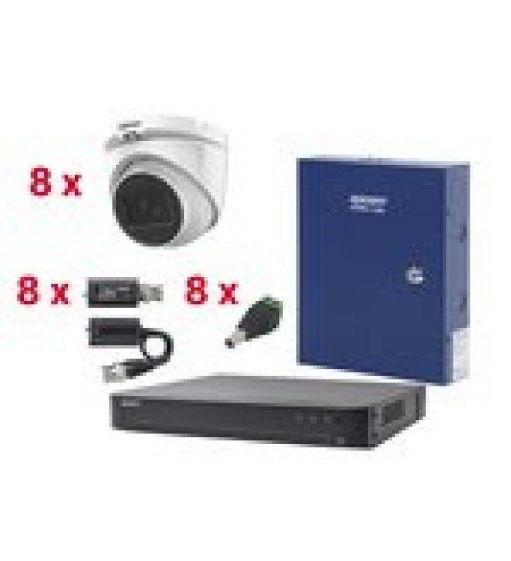 KIT TURBOHD CON AUDIO 1080P / DVR 8 CANALES / 8 CAMARAS DOMO (EXTERIOR 2.8 MM) / TRANSCEPTORES / CONECTORES / FUENTE DE PODER / AUDIO POR COAXITRON