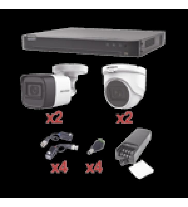 KIT TURBOHD 1080P / DVR 4 CANALES / 2 CAMARAS BALA (EXTERIOR 2.8 MM) / 2 CAMARAS DOMO (INTERIOR 2.8 MM) / TRANSCEPTORES / CONECTORES / FUENTE DE PODER PROFESIONAL