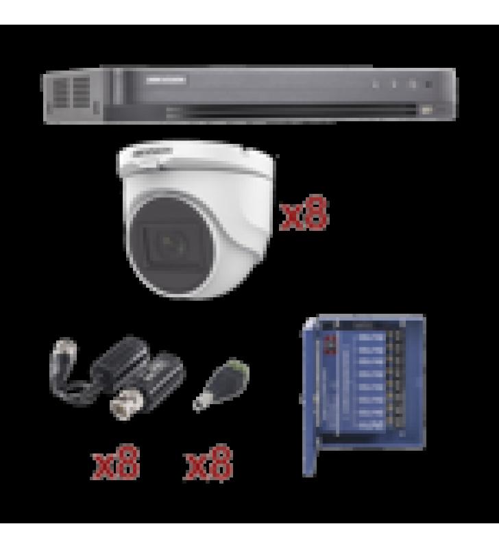 KIT TURBOHD 1080P / DVR 8 CANALES / 8 CAMARAS TURRET (EXTERIOR 2.8 MM) / CONECTORES / TRANSCEPTORES / FUENTE DE PODER PROFESIONAL HASTA 15 VCD PARA LARGA DISTANCIA