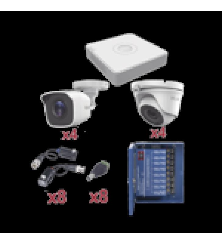 KIT TURBOHD 720P / INCLUYE DVR 8 CH / 4 CAMARAS BALA 2.8 MM / 4 CAMARAS EYEBALL 3.6 MM / TRANSCEPTORES / CONECTORES / FUENTE DE PODER PROFESIONAL HASTA 15 VCD PARA LARGA DISTANCIAS