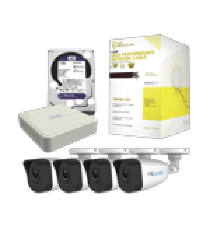 KIT IP 1080P / NVR DE 4 CANALES / 4 CAMARAS IP / BOBINA DE CABLE DE 100 MTS / DISCO DURO 1 TB