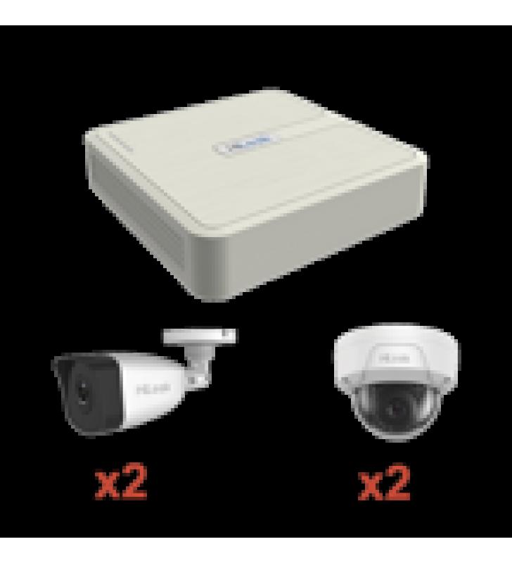 KIT IP 1080P / NVR DE 4 CANALES / 2 CAMARAS IP BALA / 2 CAMARAS IP DOMO