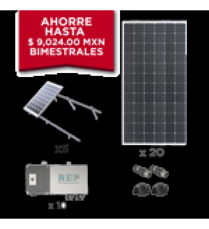 KIT SOLAR PARA INTERCONEXION DE 5.5 KW DE POTENCIA, 220 VCA CON MICRO INVERSORES Y PANELES MONOCRISTALINOS DE MAXIMA EFICIENCIA.