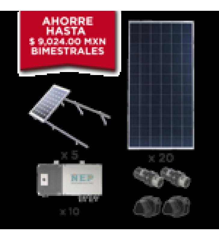 KIT SOLAR PARA INTERCONEXION DE 5.5 KW DE POTENCIA, 220 VCA CON MICRO INVERSORES Y PANELES POLICRISTALINOS