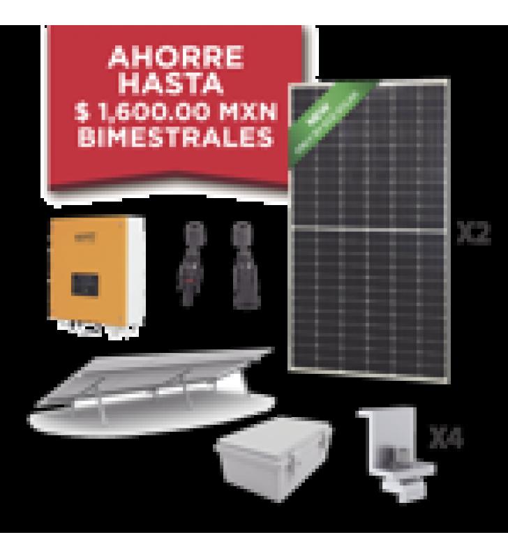 KIT SOLAR PARA INTERCONEXION DE 1 KW DE POTENCIA, 220 VCA CON INVERSOR DE CADENA Y PANELES MONOCRISTALINOS DE 450 W