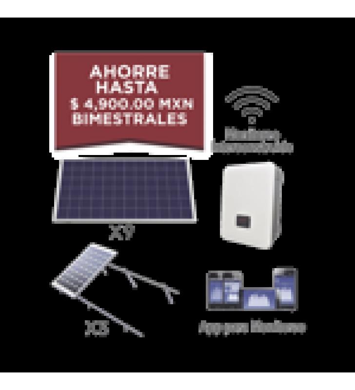 KIT SOLAR PARA INTERCONEXION DE 3 KW DE POTENCIA, 220 VCA CON INVERSOR DE CADENA Y PANELES POLICRISTALINOS.