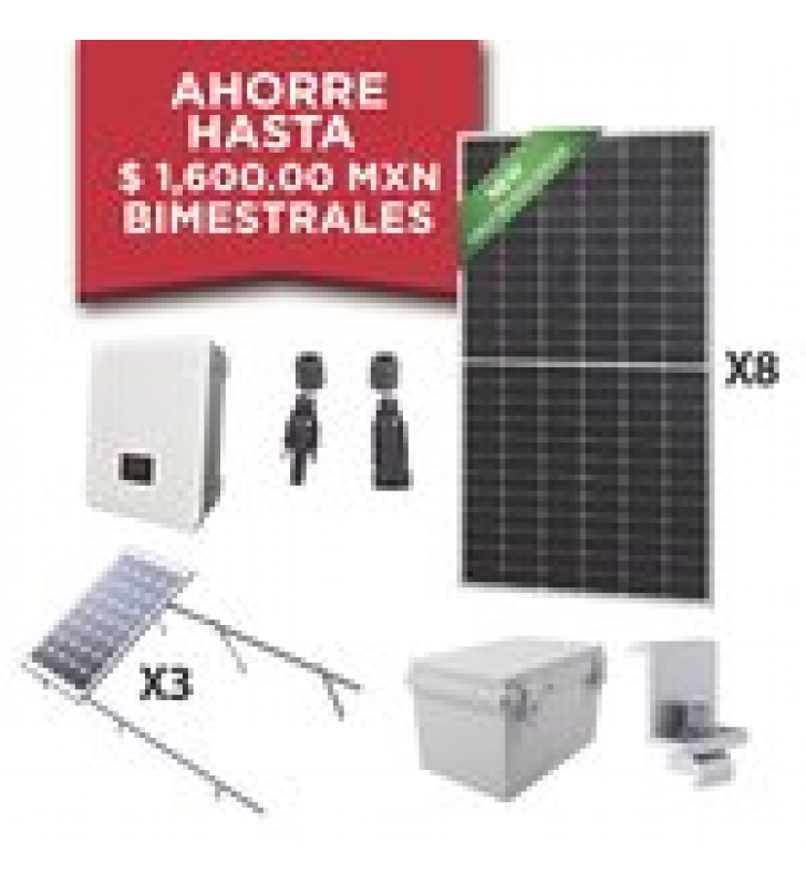 KIT SOLAR PARA INTERCONEXION DE 3 KW DE POTENCIA, 220 VCA CON INVERSOR DE CADENA Y PANELES MONOCRISTALINOS DE 450W