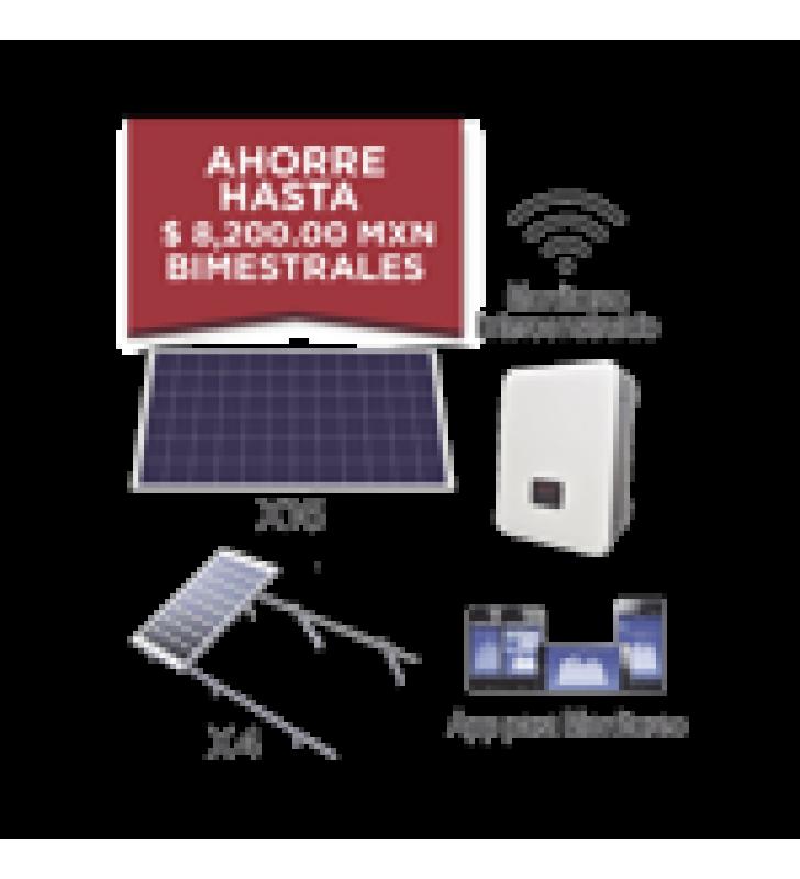 KIT SOLAR PARA INTERCONEXION DE 5 KW DE POTENCIA, 220 VCA CON INVERSOR CADENA Y PANELES POLICRISTALINOS.