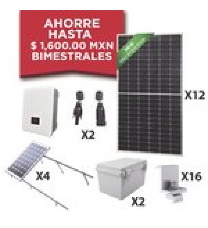 KIT SOLAR PARA INTERCONEXION DE 5 KW DE POTENCIA, 220 VCA CON INVERSOR CADENA Y PANELES MONOCRISTALINOS DE 450 W