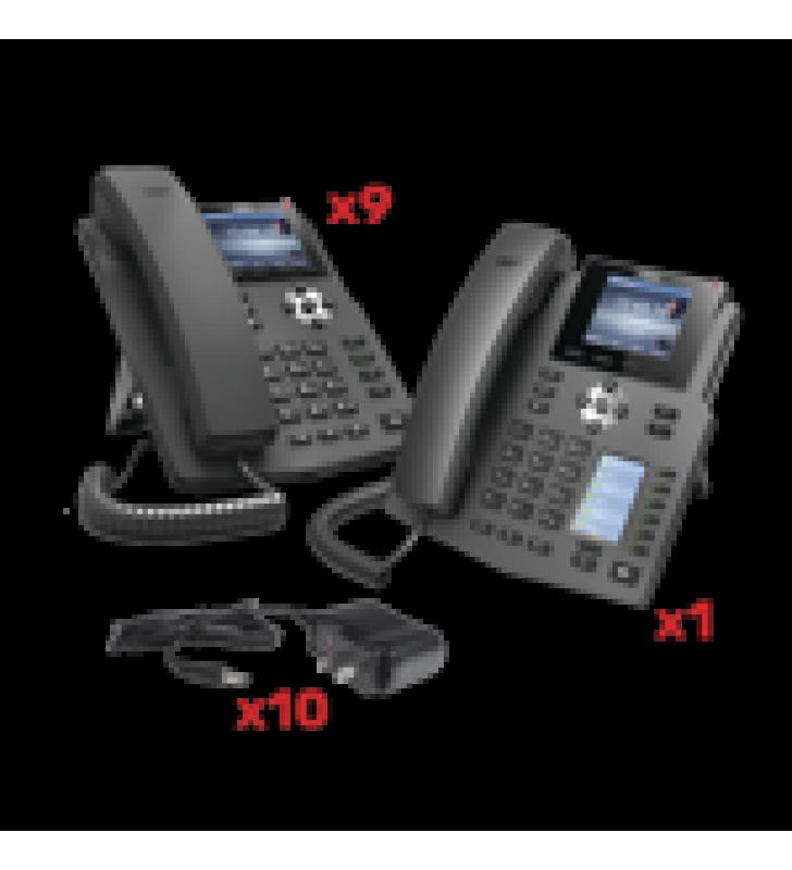 KIT DE TELEFONOS CON PANTALLA A COLOR PARA EMPRESA SMB, INCLUYE 9 TELEFONOS X3G (SENCILLO) + 1 TELEFONO X4 (RECEPCION), INCLUYEN FUENTE DE ALIMENTACION Y SON POE