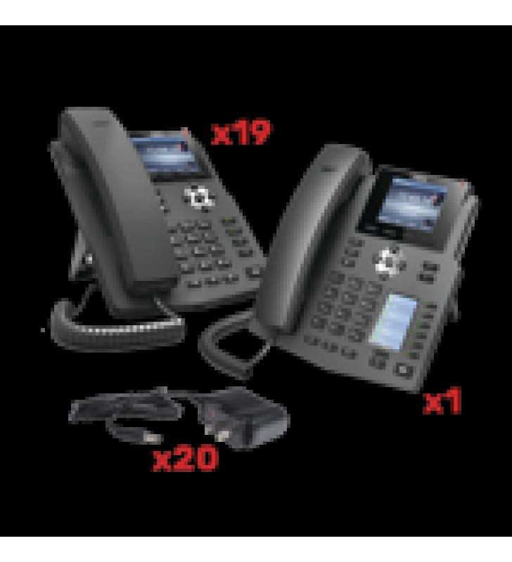 KIT DE TELEFONOS CON PANTALLA A COLOR PARA EMPRESA SMB, INCLUYE 19 TELEFONOS X3G (SENCILLO) + 1 TELEFONO X4 (RECEPCION), INCLUYEN FUENTE DE ALIMENTACION Y SON POE