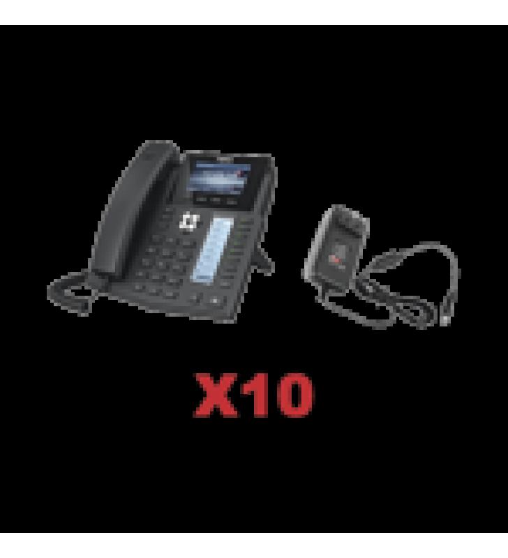 KIT DE 10 TELEFONOS EMPRESARIALES CON PANTALLA A COLOR, BOTONERA DE HASTA 40 CONTACTOS, INCLUYEN FUENTE DE ALIMENTACION Y SON POE