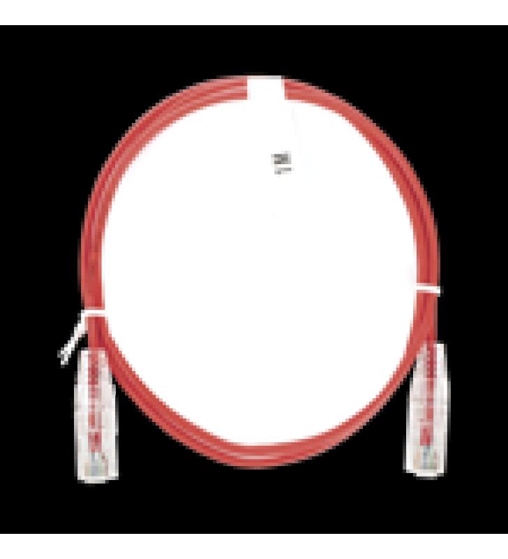 CABLE DE PARCHEO SLIM UTP CAT6 - 1 METRO, ROJO, DIAMETRO REDUCIDO (28 AWG)