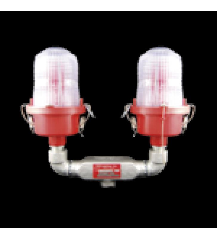LAMPARA DE OBSTRUCCION ROJA, TIPO L-810, DE DOBLE LED  (120 - 240 VCA).