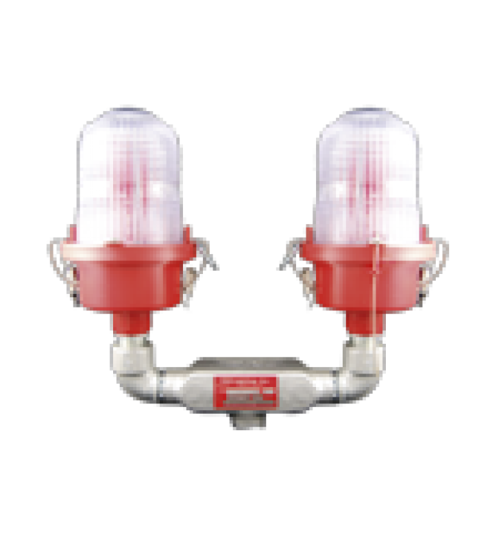 LAMPARA DE OBSTRUCCION ROJA TIPO L-810, DOBLE LED DE BAJA INTENSIDAD, (12 - 24 VCD).